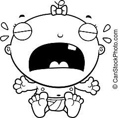 dziewczyna niemowlęcia, rysunek, płacz
