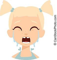 dziewczyna niemowlęcia, wektor, illustration., płacz