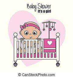 dziewczyna niemowlęcia, wnętrze, bryk