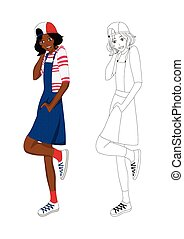 dziewczyna, no.4, fason, drelich, afrykanin