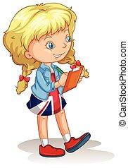 dziewczyna, notatki, blond, pisanie