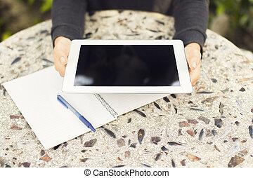 dziewczyna, notatnik, tabliczka, cyfrowy