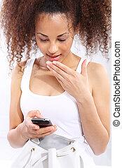 dziewczyna, obielany, sms, -, messa, ciemny, czyta