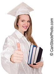 dziewczyna, odizolowany, dyplom, biały, absolwent