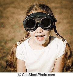 dziewczyna, okulary ochronne, spawalniczy