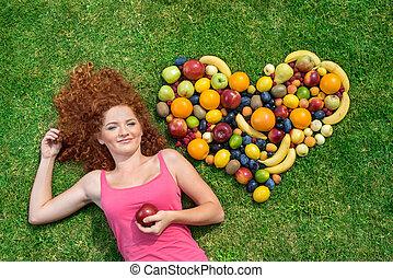 dziewczyna, owoc