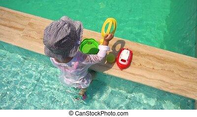 dziewczyna, pływacki, grająca kałuża, zabawki