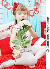 dziewczyna, pachnący, niejaki, róża