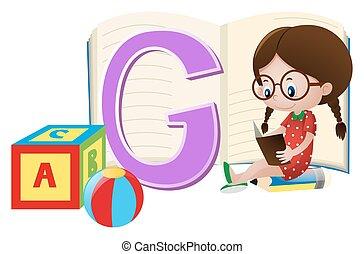 dziewczyna, papier, litera g