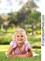 dziewczyna, park, mały