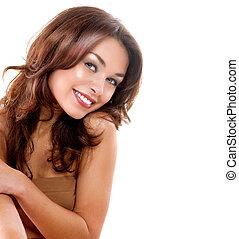 dziewczyna, piękno, doskonały, skin., odizolowany, twarz, tło., biały