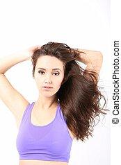 dziewczyna, piękno, hair., portret, długi