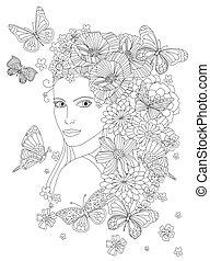 dziewczyna, piękny, fl, włosy, przeglądnięcie nazad, kwiaty, jej