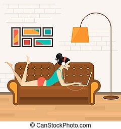 dziewczyna, piękny, laptop, sofa