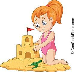 dziewczyna, piasek, zrobienie, zamek, rysunek, szczęśliwy