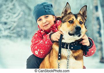 dziewczyna, pies, tulenie, dziecko