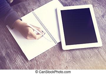 dziewczyna, pisanie, notatnik, tabliczka, cyfrowy