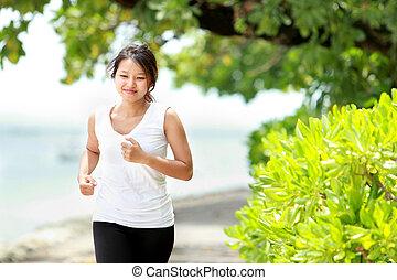 dziewczyna, plaża, jogging