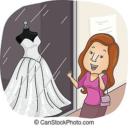 dziewczyna, poślubny strój, okno shopping