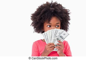 dziewczyna, pokaz, bank notatnik