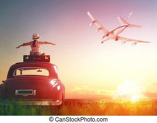 dziewczyna, posiedzenie, na, dach, od, wóz.