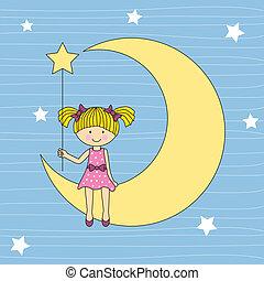 dziewczyna, posiedzenie, na, księżyc