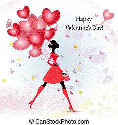 dziewczyna, projektować, dzień, karta, valentine