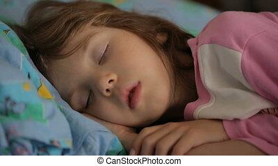 dziewczyna, rano, spanie, mały, lekki