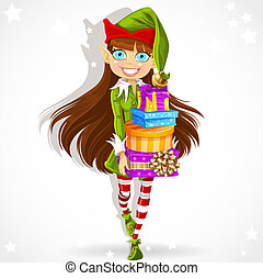 dziewczyna, rok, elf, sprytny, nowy