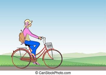 dziewczyna, rower