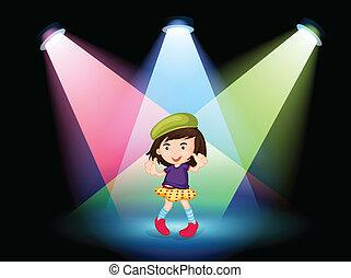 dziewczyna, rusztowanie, młody, taniec