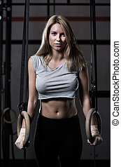 dziewczyna, sala gimnastyczna, trening, sexy