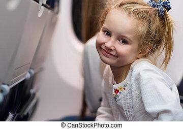 dziewczyna, samolot, podróżowanie, młody