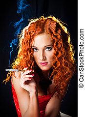 dziewczyna, sexy, gorset, włosy, czerwony, chodząc