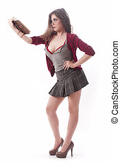 dziewczyna, sexy, szkoła