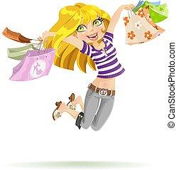 dziewczyna, shopaholic, z, shopping torby, na białym, tło