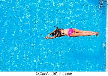 dziewczyna, skakanie do wody, przedimek określony przed...