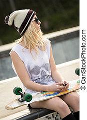 dziewczyna, skateboard, łyżwiarz, dzierżawa