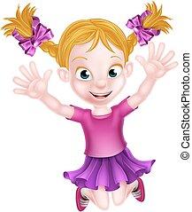 dziewczyna, skokowy, rysunek, szczęśliwy