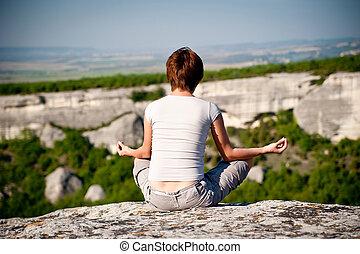 dziewczyna, staże, yoga, młody