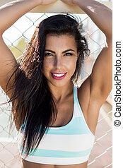 dziewczyna, stosowność, exercise., outdoors