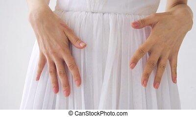 dziewczyna, strój, biały, dzierżawa wręcza