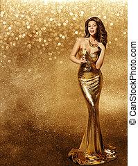 dziewczyna, strój, wzór, złoty, vip, święto, iskierki, tło złotego, kobieta, szampan, suknia, długi, fason, na, świętując