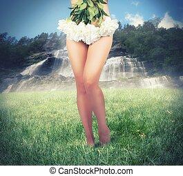 dziewczyna, stroje, z, kwiaty
