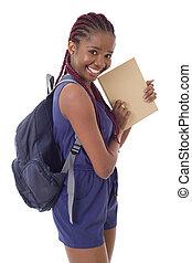 dziewczyna student, afrykanin