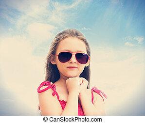 dziewczyna, sunglasses