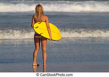 dziewczyna, surfer