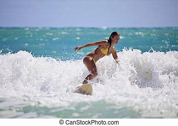 dziewczyna, surfing, żółty, hawaje, bikini