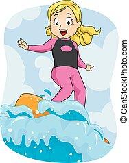 dziewczyna, surfing, koźlę
