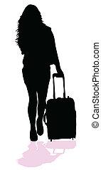 dziewczyna, sylwetka, idzie, walizka